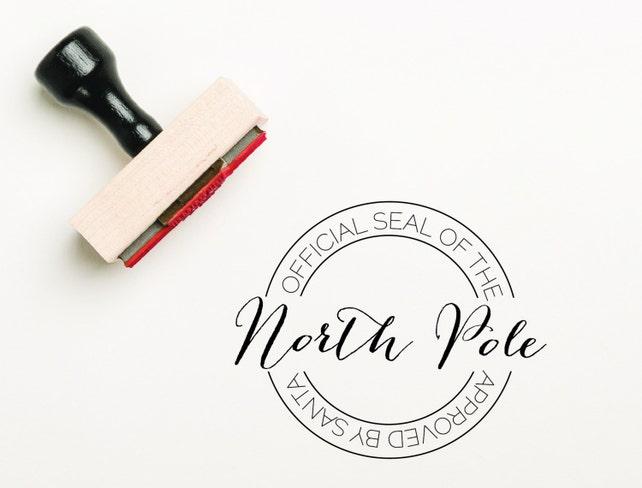 official seal of the north pole stamp santa stamp. Black Bedroom Furniture Sets. Home Design Ideas