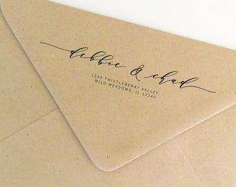 Return Address Stamp, Couples Address Rubber Stamp, Personalized Stamp, Christmas Stamp, Self-Inking Stamp, Custom Address Stamp (SADDR163)