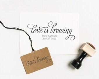 Love is Brewing Favor Stamp, Beer Favor Stamp, Tea Favour Stamp, Personalized Stamp, Coffee Favor Stamp, Beer Favour Stamp (SFAVS139 - S.1)