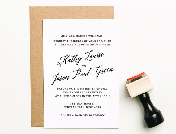Wedding Invitation Stamp Invite Custom
