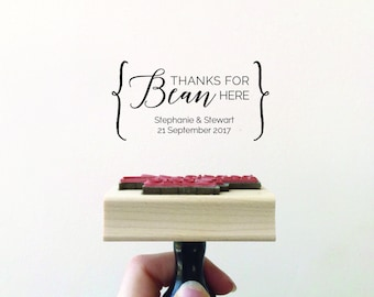 Thanks for Bean Here Stamp, Wedding Stamp, Coffee Bean Favour Stamp, Cocoa Beans Favor, Bean Here Stamp, Thank You Stamp (STHAN400 - S.7)