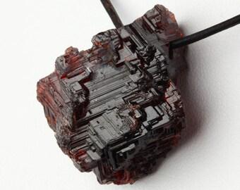Large garnet pendant etsy natural large brazilian etched spessartine garnet crystal pendant aloadofball Choice Image