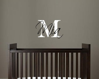 Name Intial Wall Deca - Personalized Wall Decals -  Nursery Wall Decal - Vinyl Decal - Removable Wall Decal - Room Decor