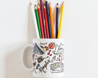 Memphis, Tennessee Handlettered Watercolor Mug