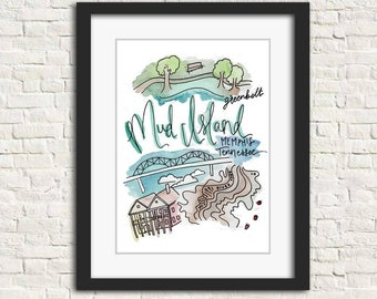 MILL WOOD ART Mud Island And Long Reef Map Home Decor Art Print on Real Wood 9.5x30
