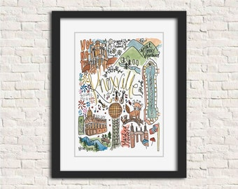 Knoxville, TN Watercolor Handlettered Wall Art Print Gift 8x10 // UTK Vols Volunteers Theatre Market Square Old City Gay St Smoky Mountains