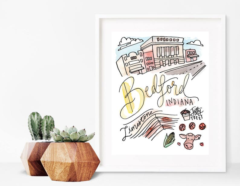 a cow basketball corn and jiffy treet Bedford limestone Indiana Print 8 x 10 Watercolor  the square