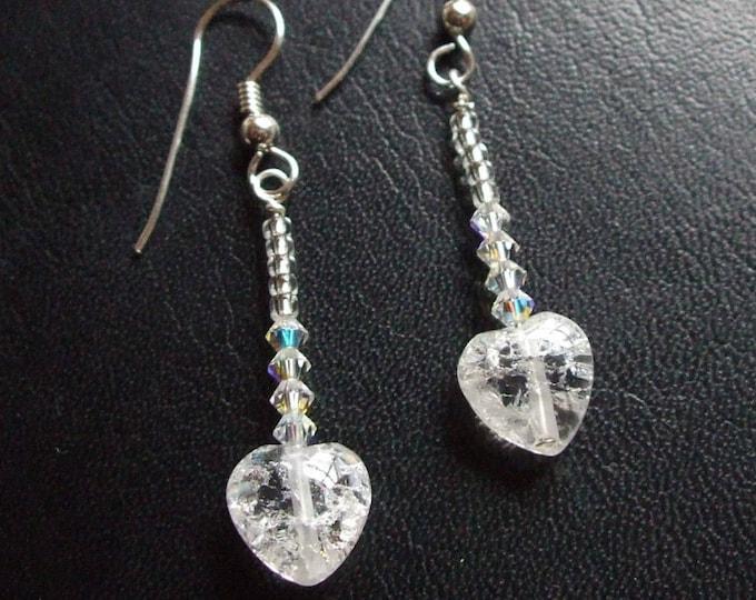 Tiny clear Rock Crystal Quartz heart earrings Sterling Silver - April Birthstone