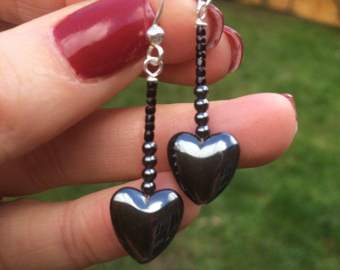 Black Hematite heart gemstone earrings - Sterling Silver