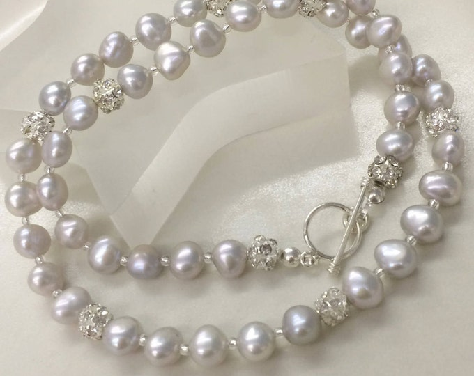Grey Baroque Freshwater Pearl necklace with Sterling Silver toggle