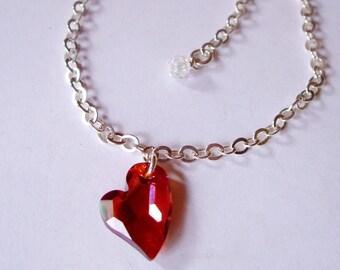 Red Swarovski crystal heart bracelet Sterling Silver Magma red or black crystal heart bracelet Swarovski jewelry Swarovski jewellery gift