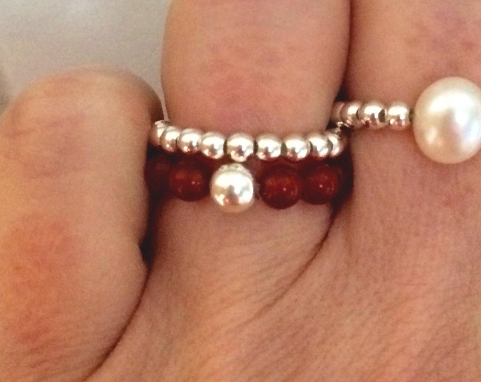 CARNELIAN STRETCH ring Sterling Silver or Gold Fill -July Birthstone jewelry gift -Sacral Chakra -Healing - Yoga jewellery gift