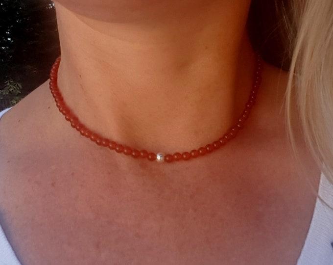 Carnelian choker necklace Sterling Silver or 14K Gold Fill tiny red orange beaded gemstone necklace July Birthstone Jewellery Chakra jewelry