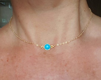 18K Gold fill tiny Turquoise necklace choker small blue gemstone necklace layering December Birthstone jewellery minimalist Jewellery gift