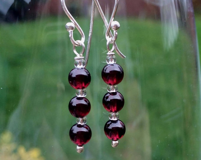 Genuine red Garnet earrings Sterling Silver or 18K Gold Fill - January Birthstone jewellery - Healing - root Chakra gift