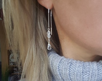 Sterling Silver threader earrings with clear Rock Crystal Quartz teardrops an Moonstones wire wrap earrings April June birthstone jewelry