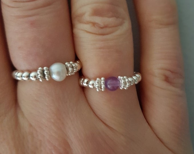 Freshwater Pearl Sterling Silver stretch ring- June BIRTHSTONE jewelry