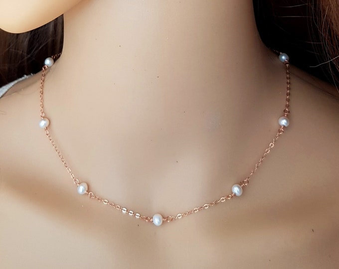 Tiny Freshwater Pearl choker necklace Sterling Silver Rose Gold or Gold Fill small white real pearl necklace June Birthstone jewellery gift