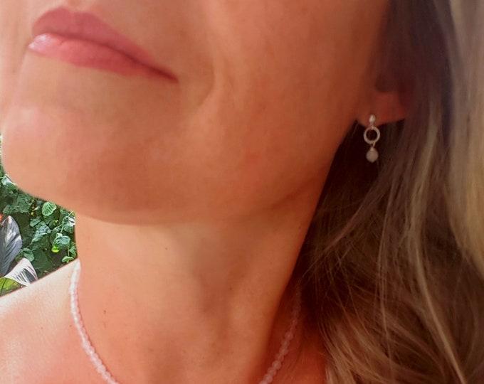 Tiny Rose Quartz Sterling Silver stud earrings - January Birthstone jewellery gift