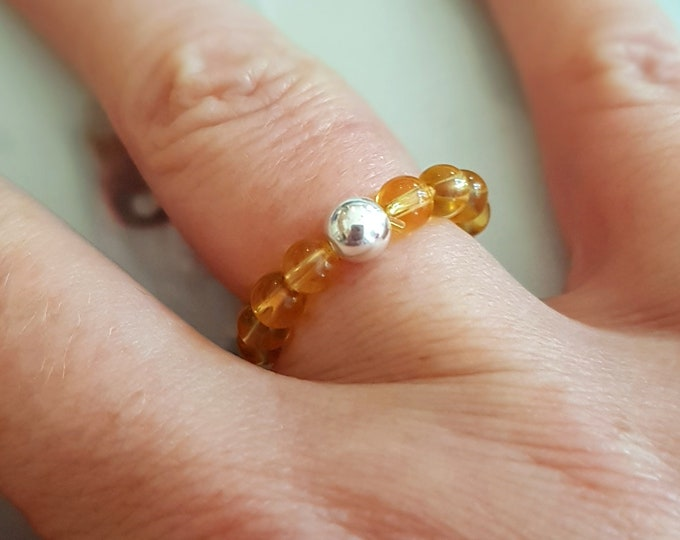 CITRINE ring STERLING SILVER beaded yellow gemstone stretch ring Boho stacking ring Citrine jewelry chakra November Birthstone jewelry gift