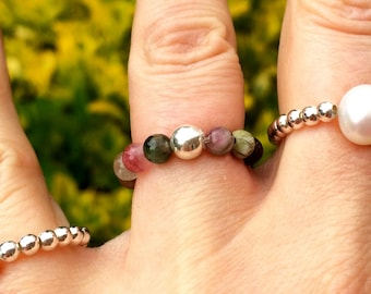WATERMELON TOURMALINE Stretch RING -with Sterling Silver or 14K gold fill bead -October Birthstone jewelry gift