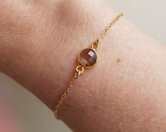 Tiny SMOKY QUARTZ bracelet 18K Gold Fill Gold small brown gemstone bracelet Healing jewellery Smokey Quartz Jewelry Chakra gift