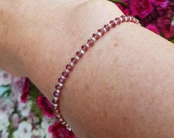 Tiny Rhodolite Garnet Bracelet Sterling Silver / Gold Fill real pink Garnet gemstone Bead Bracelet Garnet January Birthstone Jewellery Gift