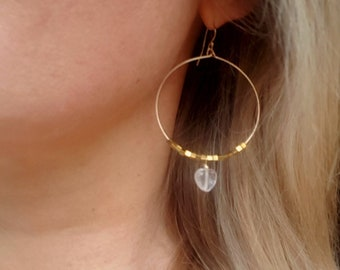 Large Gold Fill Hoop earrings with Clear Rock Crystal hearts and Gold Hematite beads Gold BOHO jewelry April Birthstone jewellery gift