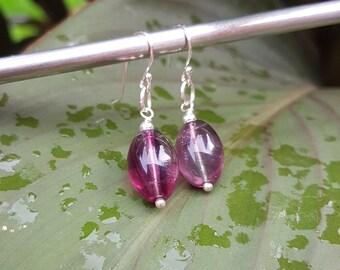 Fluorite earrings Sterling Silver purple / green gemstone bead earrings drop earrings OOAK chakra healing crystal jewellery gift for her mum