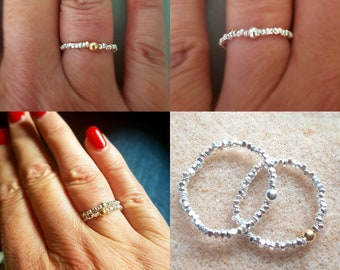 Tiny Sterling Silver nugget STRETCH ring - stacking ring - minimalist jewelry gift for her