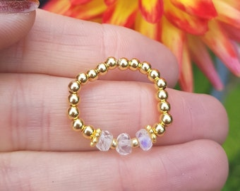 Rainbow MOONSTONE stretch ring Gold Fill or Sterling Silver beaded white gemstone ring Boho - chakra - yoga - June Birthstone jewellery gift