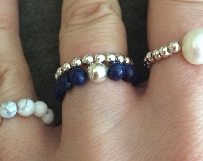 BLUE LAPIS LAZULI ring Sterling Silver stretch ring - September Birthstone Jewellery gift