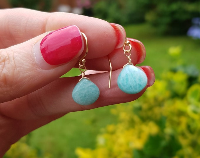 18K Gold Fill Amazonite earrings or Rose Gold Sterling Silver Aqua small green gemstone earrings tiny teardrop earrings Chakra jewelry gift