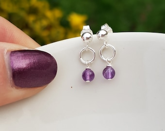 Tiny Amethyst earrings Sterling Silver stud, Crown Chakra, February Birthstone jewellery gift for girl