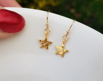Tiny 24K Gold star earrings small Gold filled simple Gold earrings teenage girl gift for her