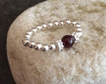 Sterling Silver Garnet stretch ring - January Birthstone jewellery - Chakra Healing gift