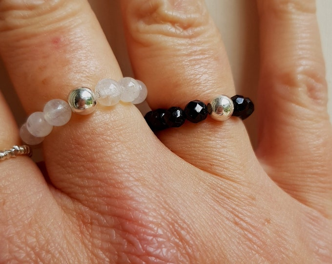 BLACK ONYX STRETCH ring Sterling Silver or 14K Gold Fill bead - February Birthstone jewellery - Root Chakra - yoga gift