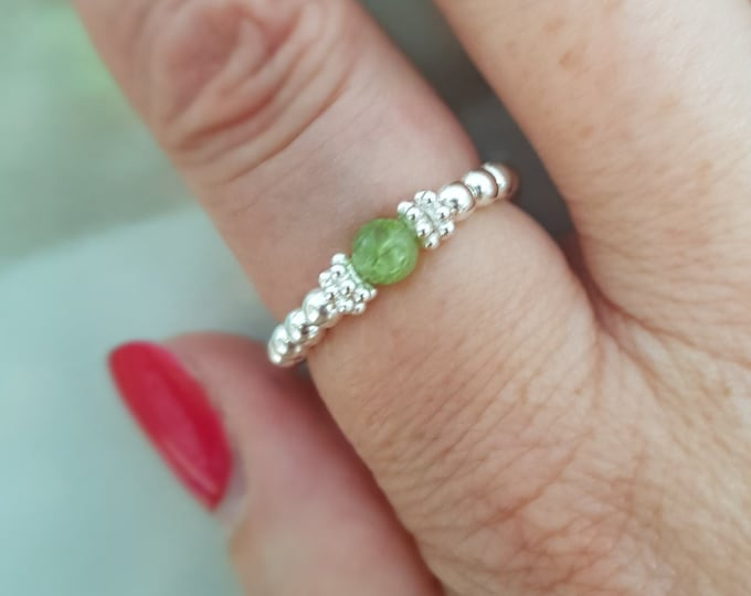Peridot Sterling Silver stretch ring tiny green gemstone ring beaded ring stacking August  Birthstone jewellery gift Chakra Healing jewelry