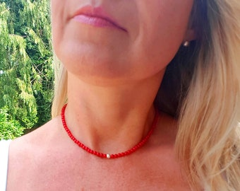 Red Coral choker necklace Sterling Silver or Gold Fill - Chakra jewelry healing gift