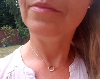 24K Rose Gold Fill hammered circle necklace choker small circle necklace Rose Gold pendant minimal eternity jewelry gift Circle of Life yoga