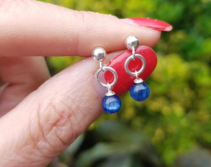 Kyanite earrings Sterling Silver or 18K Gold Fill stud small 5mm tiny blue Kyanite gemstone drop earrings jewellery gift for her mum girl