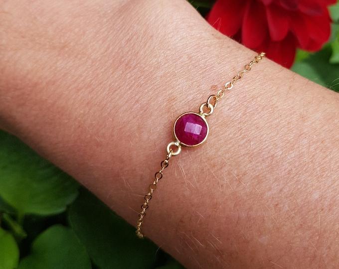 18K Gold fill tiny Ruby bracelet genuine red gemstone bracelet stacking layering July Birthstone jewellery minimalist Jewelry gift