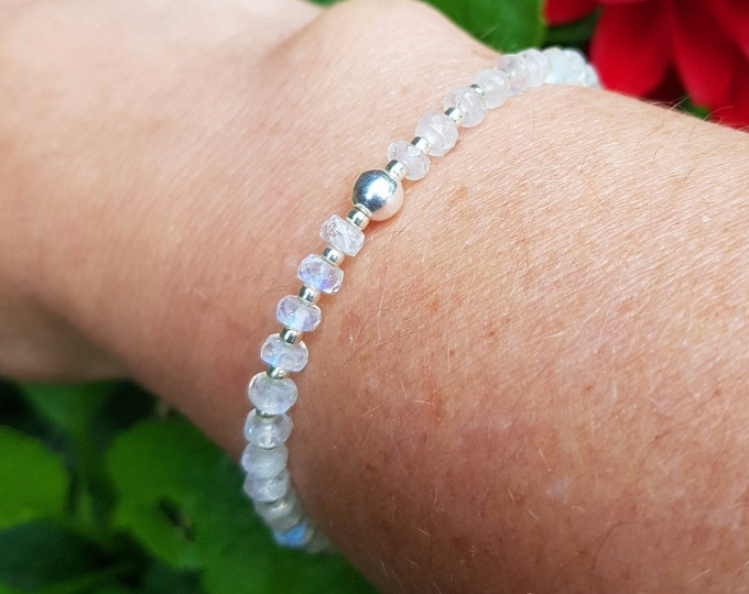 Moonstone stretch bracelet Sterling Silver or Gold Fill tiny 4mm real faceted AAA white gemstone bead bracelet beaded Healing Jewelry gift