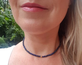 Blue Lapis choker necklace Sterling Silver Gold Fill tiny blue beaded gemstone necklace real Lapis Lazuli bead September Birthstone jewelry