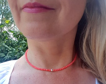 Tiny pink Coral necklace choker Sterling Silver or Gold Fill 4mm pink gemstone bead necklace small beaded necklace Chakra jewelry jewellery