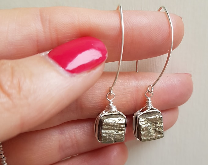 Gold Pyrite earrings Sterling Silver long hooks wire wrapped RAW Fools Gold gemstone square bead earrings Gold stone unique jewellery gift