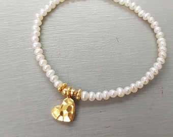 Tiny Freshwater Pearl bracelet Gold Fill or Sterling Silver hammered heart real white seed pearl stretch bracelet June Birthstone jewellery
