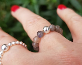 LABRADORITE ring STERLING SILVER stretch beaded grey gemstone ring Boho stacking bead ring gray Moonstone jewelry chakra jewellery yoga gift