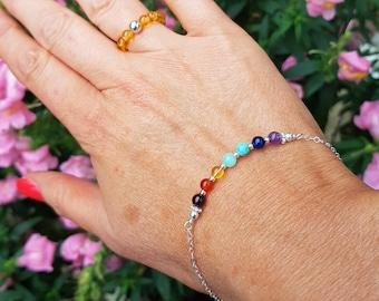 7 Chakra Bracelet Sterling Silver or Gold Fill tiny multi gemstone bead Bracelet small beaded bracelet yoga jewelry Rainbow jewellery gift