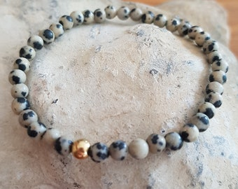 Dalmation Jasper stretch Bracelet Sterling Silver or Gold Fill tiny 4mm gray black gemstone bead Bracelet healing jewelry Chakra jewellery